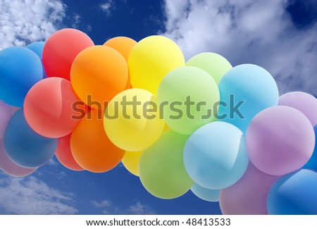 Colorful balloon forming a archway - stock photo