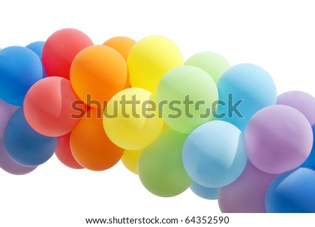 Colorful balloon forming a archway isolated on white - stock photo