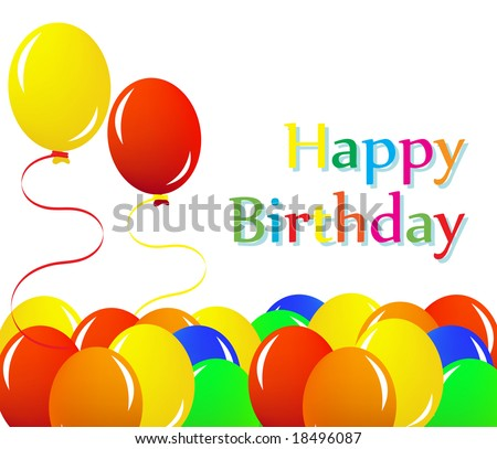 Colorful balloon happy birthday illustration (jpeg version) - stock photo