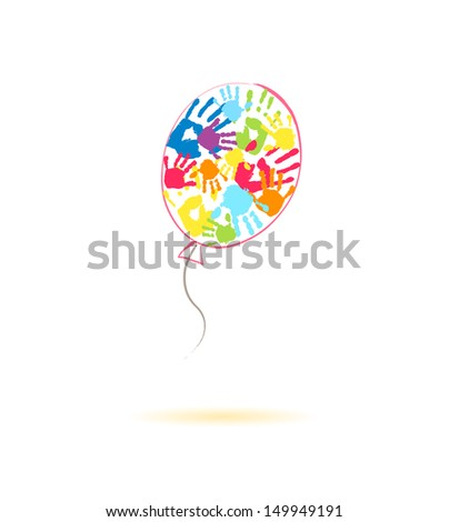 Colorful balloon of the handprints of parents and children - stock photo