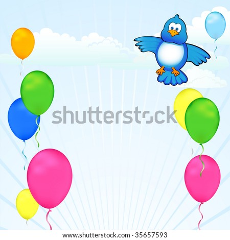 Colorful balloons and a blue bird decorate a modern sky. Celebrate birthdays - stock photo