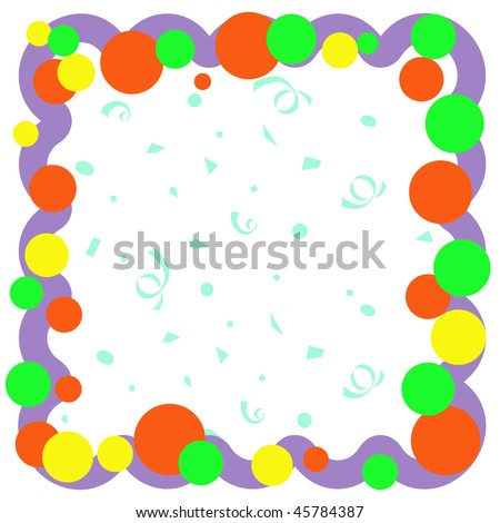colorful balloons and confetti on white scrapbook frame illustration