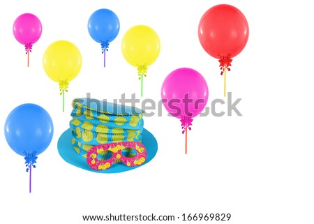 Colorful balloons and hat with mask for party and carnival - stock photo