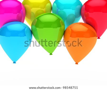 colorful balloons are flying on white background - stock photo