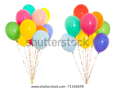 colorful balloons bunch filled with helium isolated on white - stock photo