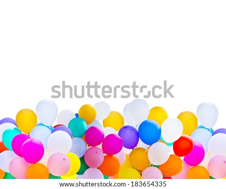 colorful balloons bunch isolated on white background - stock photo