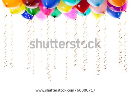 colorful balloons filled with helium and with golden streamers isolated on white - stock photo