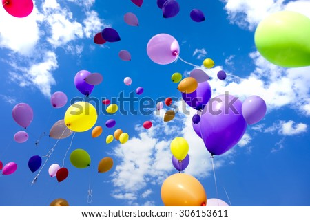 Colorful Balloons flying in the sky party - stock photo