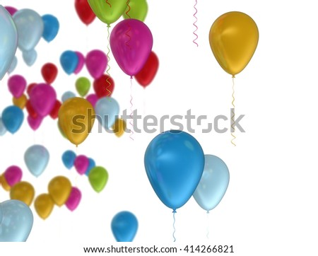 Colorful balloons flying over white background. 3D illustration - stock photo