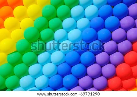 Colorful balloons. Graduation Rainbow theme - stock photo