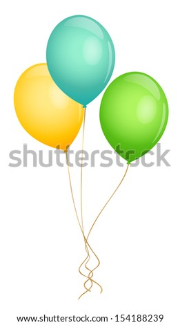 Colorful Balloons (green, yellow, blue) for holidays / celebration (Birthday party, Xmas, wedding, Mother's day). Isolated Illustration on white background