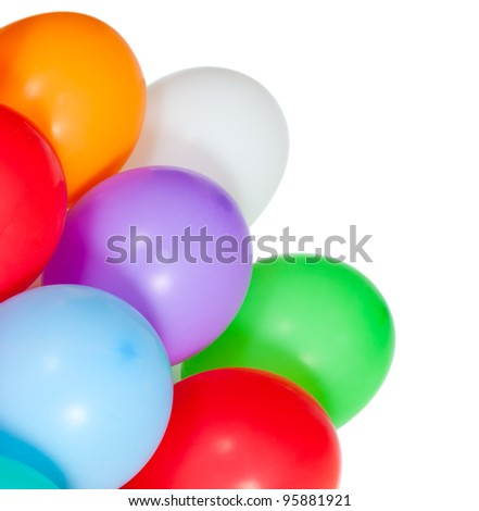 colorful balloons in the corner isolated on white background - stock photo