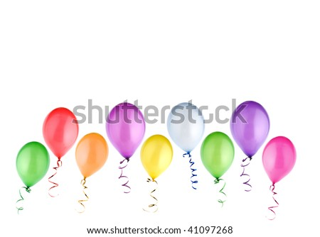 colorful balloons isolated on white background - stock photo