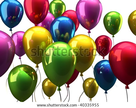 Colorful balloons isolated on white background - 3d render
