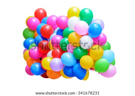 Colorful balloons isolated on white background with clipping path. - stock photo