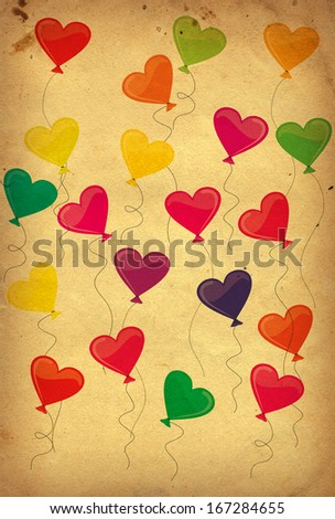 colorful balloons on old paper background - stock photo