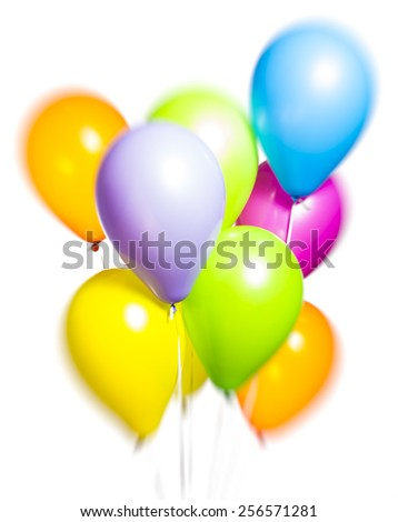 Colorful Balloons on White Background. Brightly lit and useful to represent happiness, celebration and festive concepts