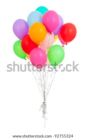 colorful balloons over white background - stock photo
