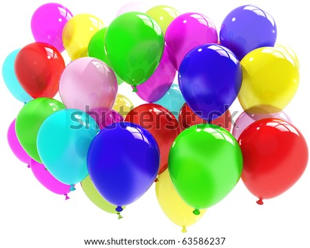 colorful balloons. Party and fun concept isolated on white background - stock photo