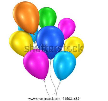 Colorful balloons party and happy birthday floating balloons for anniversary and events decoration 3D illustration isolated on white background.