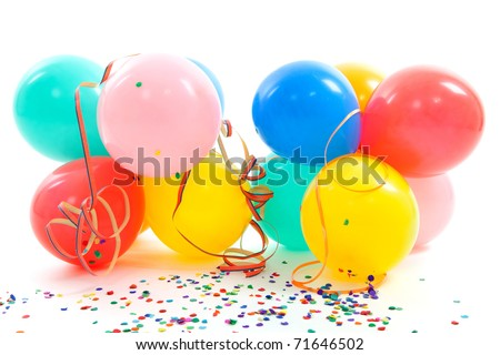 colorful balloons, party streamers and confetti over white background - stock photo