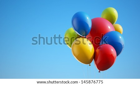 Colorful Balloons with Clipping Path