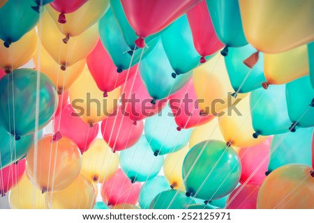 colorful balloons with happy celebration party background - stock photo