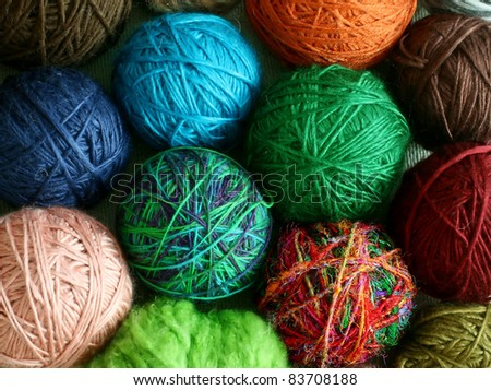 colorful balls from wool - background - stock photo