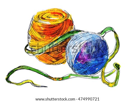Colored Yarn Balls Painting