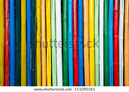 colorful bamboo  fence close up