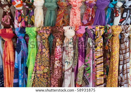 colorful bandanas, scarves, neck scarf, - stock photo