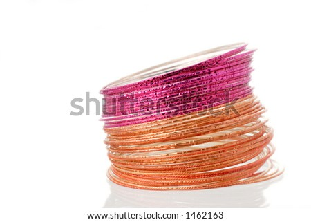 colorful bangles and reflections