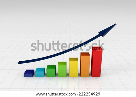 Colorful bar chart going upwards with arrow - stock photo