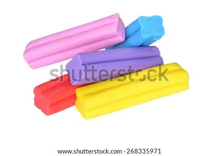 Colorful bars of plasticine - stock photo