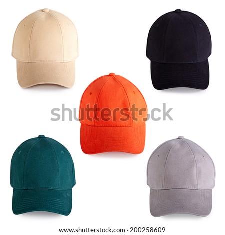 Colorful baseball caps isolated on white background - stock photo