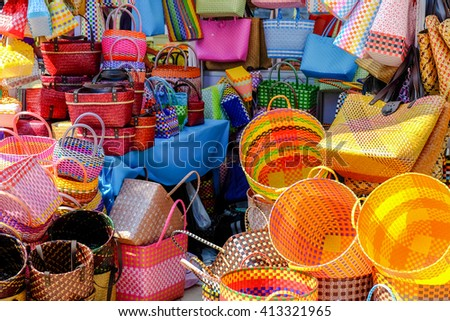 Colorful basket stall