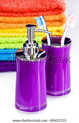 Colorful bath accessories - stock photo