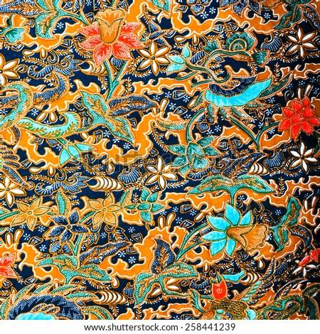 colorful batik floral pattern design - stock photo