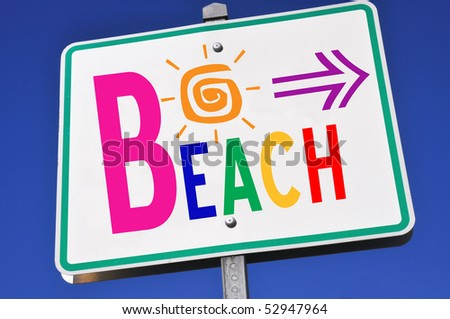 Colorful Beach Access Sign - stock photo