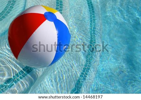 Pool Water With Beach Ball summer love beach ball on swimming stock photo 128760851