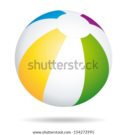 Colorful beach ball. Summer game holidays icon.