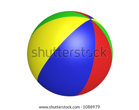Colorful Beach Ball (with clipping path) - stock photo