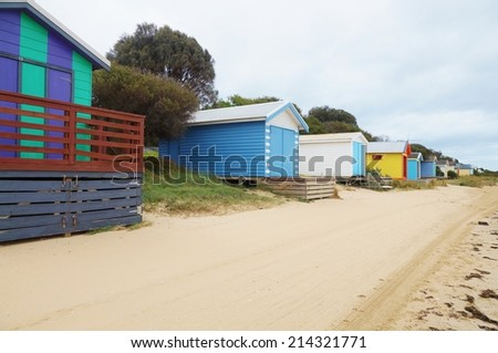 Colorful beach cabins in the Mornington Peninsula in Australia