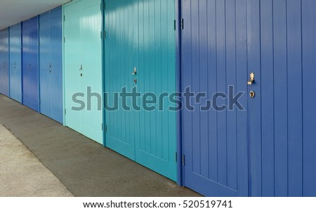 Colorful Beach Hut Doors at Meadfoot, Torquay, Devon