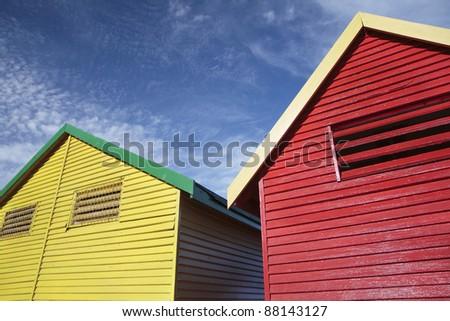 Colorful Beach Huts - stock photo