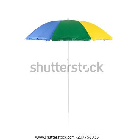 Colorful beach sunshade isolated on white background - stock photo