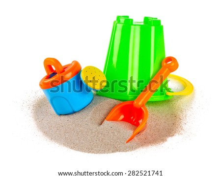 colorful beach toys isolated on white - stock photo