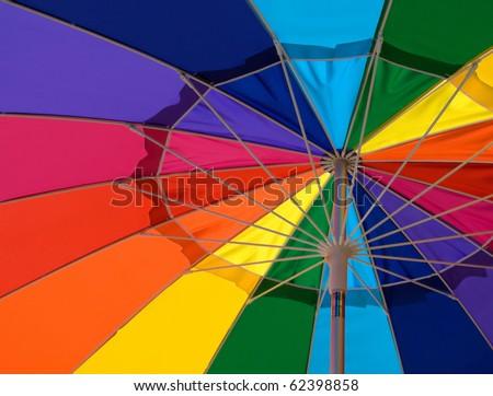 colorful beach umbrella - stock photo