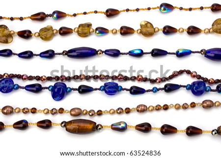 colorful beads background on white - stock photo