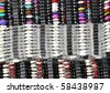 Colorful  beads bracelets. Multi-colored beaded bracelets on a market stall - stock photo